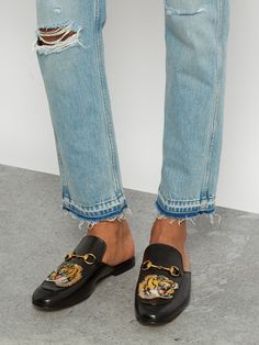 Tiger-head embroidered backless loafers   Gucci   MATCHESFASHION.COM