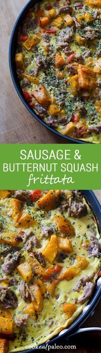This quick and easy sausage and butternut squash frittata is a perfect paleo breakfast, lunch or dinner. It's gluten-free, dairy-free and paleo. ~ http://cookeatpaleo.com