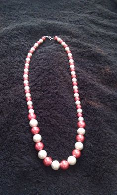 White and Raspberry Glass Pearl Necklace | PamelaBead - Jewelry on ArtFire