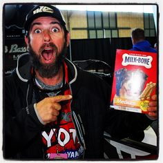 Fav pic from media day. Mike Iaconelli with his secret weapon for #bassmasterclassic 2016 - treats for barking dogs on Grand Lake.