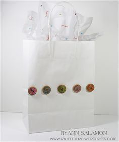 gift bag decorated with buttons - simple & clean