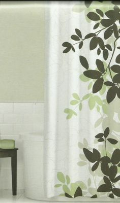 Zen Floral Sage Green Brown Tan Ivory Quality Luxury Fabric Shower Curtain NEW  #homeclassics #Contemporary