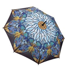Click on the image to find more about this blue #umbrella printed with #butterflies in an Art Deco style. https://www.rosemarie-schulz.eu/en/umbrellas/59-stickumbrella-butterflies-art-deco-style.html