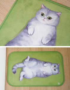 Lying Down Fat Cat Floor Mat - SUDDENLY CAT