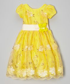 Look what I found on #zulily! Yellow Sequin Floral A-Line Dress - Infant, Toddler & Girls #zulilyfinds