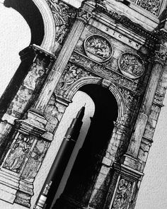 Jaw-dropping #WIP shot from Liam Hipple (@liamhippleillustration) showing off details from his #penandink #architectural #illustration of the Arch of Constantine in Rome Italy. Because this marvelous piece of #architecture is located between the Coliseum and Palatine Hill many people may only stop to look at it from a distance on their way through the Coliseum. Liam is in the process of highlighting (yes you CAN highloght in black and white... Liam's doing it right now) the wondrous stone…