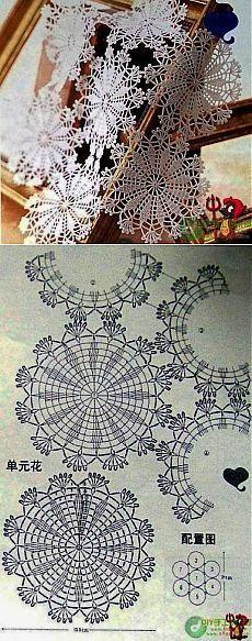 New Ideas For Crochet Flowers Pattern Vintage Crochet Doily Diagram, Crochet Flower Patterns, Crochet Squares, Crochet Chart, Crochet Designs, Crochet Flowers, Crochet Dollies, Crochet Diy, Thread Crochet