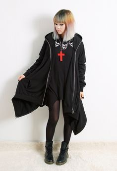 Japanese Harajuku goth outfit. Simple with a sharkbite tee and oversized sweater. I'm not brave enough to go without shorts, but dark shorts would layer well with the tights.