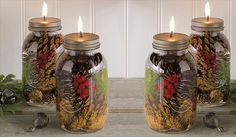 5. Holiday Oil Candles | Handmade Holidays: 15 DIY Mason Jar Gifts
