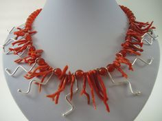 Red coral necklace handmade beaded choker by FlorenceJewelshop