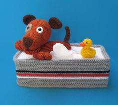 Tissuebox Cover Bathing Puppy With Rubber Duck crochet pattern by Millionbells