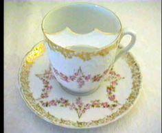 German Antique Tea Cups Saucers | German Mustache Cup Saucer Antique Vintage Porcelain Germany