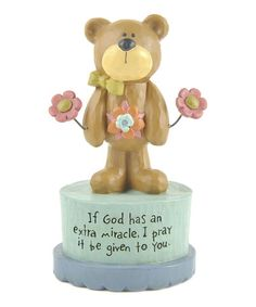 Take a look at this 'God Has An Extra Miracle' Bear & Flower Collectible by Blossom Bucket on #zulily today!