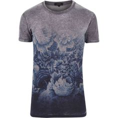 River Island gris impresión desvanecimiento de manga corta camiseta