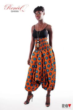 harem pants in ZeroByZawadi colours - Orange & Turquoise African Attire, African Wear, African Dress, African Clothes, African Shop, African Lace, African Fabric, Colorful Fashion, Love Fashion
