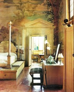 I simply adore a beautiful hand painted wall whether it be in the form of a mural, fresco, or faux technique. I like the thought of maki. Andrea Palladio, Beautiful Bedrooms, Beautiful Interiors, Interior Decorating, Interior Design, Mural Painting, Wall Treatments, New Wall, Dream Bedroom