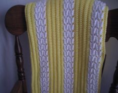 Stripe textured crocheted afghan