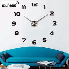 Fábrica Freeshipping 2016 Nova Metall Moderne 3D DIY Relógio de Parede Acrílico + EVR + Espelho de Metal decoração de casa Super Grande 130 cm x 130 cm