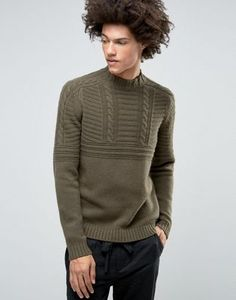 ASOS Lambswool Rich Cable Jumper with High Neck in Khaki