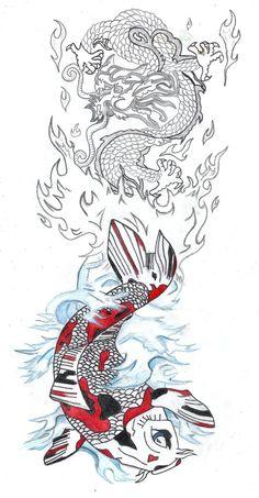 Koi Dragon Tattoo | Dragon | Pinterest Dragon Tattoo Drawing, Koi Dragon Tattoo, Koi Fish Tattoo, Japanese Dragon Tattoos, Tattoo Sketch, Tattoo Drawings, I Tattoo, Art Patterns, Pattern Art