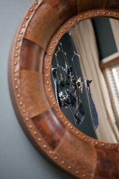 Leather, metal-studded mirror for baby boy nursery - #projectnursery