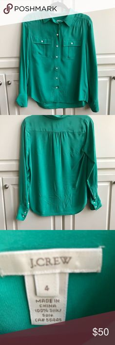 c5664dcc EUC Classic J. Crew 100% silk buttondown blouse This is a timeless J. Emerald  GreenCasual ...