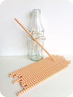 Pajitas de papel chevron naranja - Shop We Love Parties Bcn