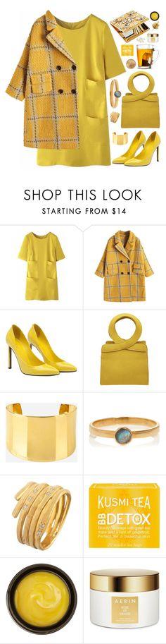 """yellow"" by megan-vanwinkle ❤ liked on Polyvore featuring WithChic, Gucci, Henri Bendel, Rebecca Joseph, Kusmi Tea, de Mamiel, Estée Lauder, Ultimate, Swarovski and monochrome"