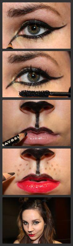 Easy cat makeup #halloween #party #makeup #costume #cat