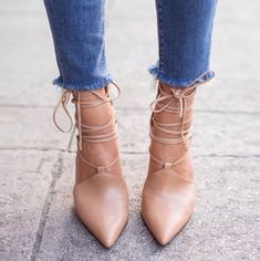 song of style - nude lace-up pumps Absolutely love looks really good with these jeans too Sock Shoes, Cute Shoes, Me Too Shoes, Shoe Boots, Ankle Boots, Strappy Heels, Stilettos, High Heels, Shoes Heels