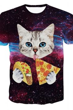Summer Fashion Galaxy Cute Cat Print Short Sleeve Tee For Men