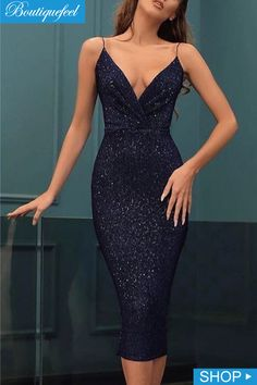Spaghetti Strap Ruched Midi Glitter Dress - Women's style: Patterns of sustainability Elegant Dresses, Pretty Dresses, Sexy Dresses, Evening Dresses, Casual Dresses, Fashion Dresses, Dress Outfits, Prom Dresses, Dinner Dresses
