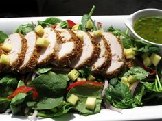 sesame crusted turkey & spinach salad