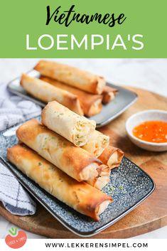 Vietnamese loempia's - Zonder frituur! - Lekker en Simpel Vegetarian Recipes, Snack Recipes, Dinner Recipes, Snacks, Healthy Recipes, I Love Food, Good Food, Yummy Food, Other Recipes