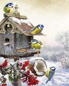 Bluetits 1 By The Macneil Studio Canvas Art, Christmas Artwork, Christmas Bird, Christmas Scenes, Christmas Animals, Christmas Pictures, Vintage Christmas, Animals Watercolor, Illustration Noel, Canvas Artwork