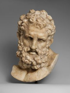 Marble head of Herakles         Copy of a Greek statue of the second half of the 4th century B.C. attributed to Lysippos.