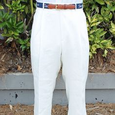 Rugby Pleated Pant in White Linen by Country Club Prep