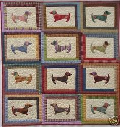Quilt-PATTERN-Hot-diggity-dog-Dachshund-applique-puppy