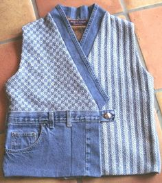 Cute vest using handwoven fabric and old pair of jeans - Sarah H. Jackson, Textile Artist