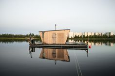 """Kesän Sauna is a public sauna on Tuira Beach in Oulu, Finland. Known as the """"Summer's Sauna,"""" it was conceived, built and is currently run as a crowdsourced project. Contributed by Joonas Mikola. Finland Summer, Sauna House, Portable Sauna, Public Architecture, Floating House, Saunas, Design Strategy, Sustainable Design, Building A House"""