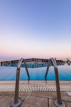 Entrance to Swiming Pool at Hotel Resort, Sunrise Blue Hour, Rhode, Greece. Swiming Pool, Blue Hour, Greece Travel, Rhodes, Entrance, Sunrise, Aesthetics, Entryway, Door Entry