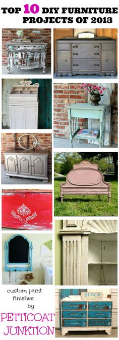 Featuring Petticoat Junktion's top diy furniture projects of the past year. Techniques used include; stenciling, metallic finishes, and heavy distressing.