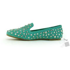 Sea Green Studded Loafers ($20) ❤ liked on Polyvore featuring shoes, loafers, flats, slip-on loafers, flats loafers, studded flat shoes, studded flats and polyurethane shoes