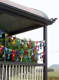 crochet bunting for a porch party! I can't crochet, but I could probably beg someone to do this for me.