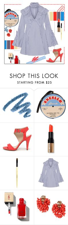 """""""Ruffled Stripe Oxford."""" by s-elle ❤ liked on Polyvore featuring Yves Saint Laurent, Olympia Le-Tan, My Delicious, Bobbi Brown Cosmetics, Caroline Constas, Dsquared2 and chokerdress"""