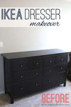This Hemnes IKEA dresser makeover has been made over from boring black to fresh white with a little pizazz to help makeover a nursery. Come check it out! Ikea Black Dresser, Black And White Dresser, Ikea Dresser Hemnes, Hemnes Ikea Hack, Brown Dresser, Black Dressers, Ikea Dresser Makeover, Ikea Furniture Makeover, Black Bedroom Furniture