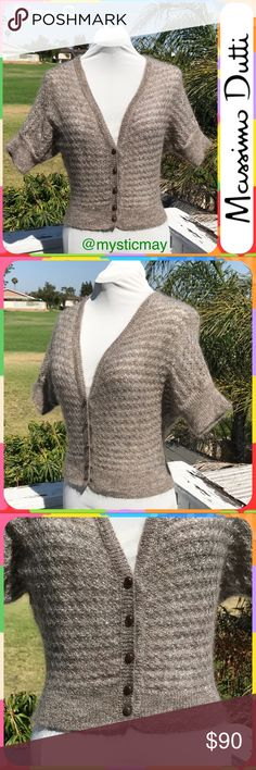 """Fine Brown Metallic Spanish Mohair Cardigan Size S Luxuriously soft fine mohair blend Cardigan sweater from Spanish clothiers Massimo Dutti! This sweater is a light brownish-gray color with silver metallic woven throughout for shimmer. Short sleeve. 5-button closure. Cropped length. Lightweight- great for layering! Ladies Size Small or 2/4. Measures 17"""" across the chest and 19"""" in length. Massimo Dutti Sweaters Cardigans"""