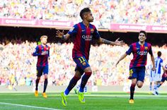 Neymar of FC Barcelona celebrates after scoring the opening goal during the La Liga match between FC Barcelona and Real Sociedad de Futbol at Camp Nou on May 9, 2015 in Barcelona, Catalonia.