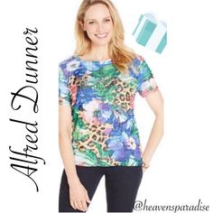 """Alfred Dunner blouse Alfred Dunner blouse in bright and beautiful colors of Dark blue, light blue, orange, peach, brown, tan, white and green. ✳️Feel free to make an offer using the offer feature- OR- bundle your likes and I will send you an offer with an exclusive discount!I ✳️No trades, smoke free 🏡 Thank you for stopping by"""" 💕🌻💕 Alfred Dunner Tops Blouses"""