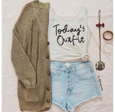 This shirt and cardigan